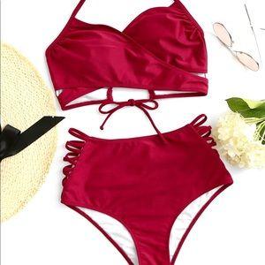 Two Piece Red Criss Cross High Waisted Bikini Set
